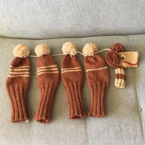Vintage Handmade Wool Knit Golf Club Covers